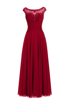 Fashion Scoop Appliques Cap Sleeves Long Burgundy Prom Dress Evening Gown