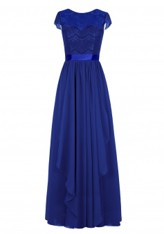 Elegant Scoop A-line Lace Royal Blue Prom Dress Formal Evening Gown
