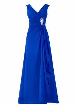Fashion V-neck A-line Long Royal Blue Prom/Party Dress With Rhinestone