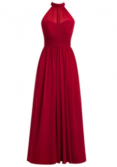 Simple A-line High Neck Chiffon Sleeveless Ruffles Red Prom Dress Evening Gowns