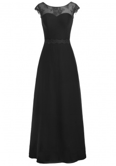 A-line Scoop Chiffon Cap Sleeves Long Black Prom Dress Evening Gowns With Appliques