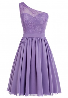 Sexy One-shoulder Chiffon Short Purple Prom/Homecoming Dress With Applqiues