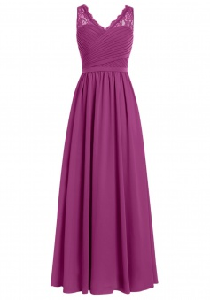A-line V-neck Chiffon Long Sleeveless Grape Prom/Evening Dress With Lace