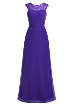 A-line Scoop Cap Sleeves Chiffon Long Backless Purple Prom/Evening Dress With Lace