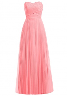 Elegant Sweetheart A-line Long Coral Prom Dress Party Gown