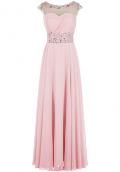 Fashion Scoop A-line Scoop Cap Sleeves Long Pink Prom/Evening Dress