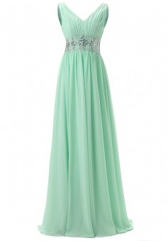 Elegant V-neck Beading Long Mint Prom Dress Formal Evening Gown