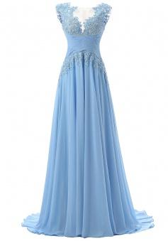 Fashion Scoop Appliques A-line Chiffon Light Blue Prom/Evening Dresses
