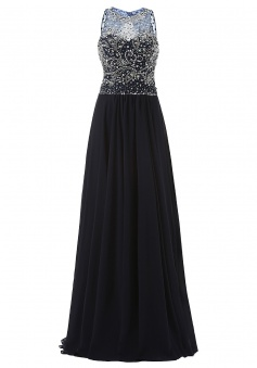 Elegant Jewel A-line Beading Long Black Prom/Evening Dress