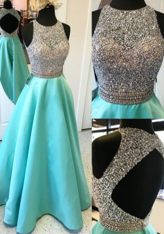 A-Line Jewel Floor-Length Open Back Green Stretch Satin Prom Dress with Beading