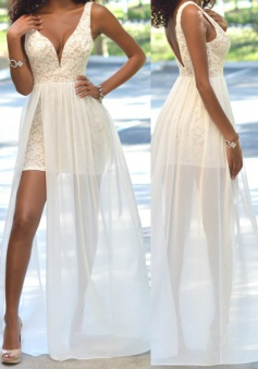 Sexy V-neck Lace Side Slit Prom Dress with Chiffon Train