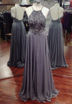 Luxurious A-line Long Chiffon Beaded Prom Dress with Backless
