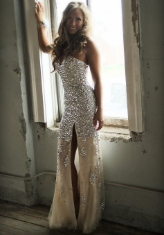 Gorgeous Long Strapless Long Slit Prom Dress with Beads