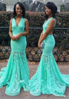 Mermaid V-Neck Sweep Rrain Sleeveless Open Back Green Lace Prom Dress