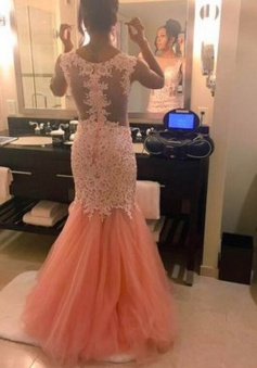 Mermaid Long Sleeveless Sheer Lace Applique Prom Dress