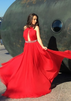 Gorgeous A-line Beaded Long Red Chiffon Prom Dress with Backless