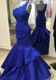 Mermaid One-Shoulder Sweep Train Royal Blue Satin Prom Dress with Appliques Beading