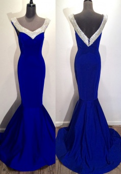 Elegant Mermaid V-neck  Sweep Train Satin Sleeveless Royal Blue Long Prom Dress with Beaded