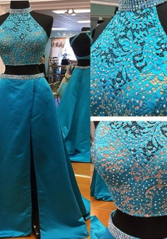 Two piece High Neck Sweep Train Satin Sleeveless Beaded Backless Long Blue Prom Dress