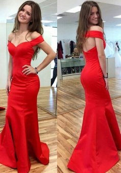 Sexy Red Prom Dress - Mermaid Off-the-shoulder Long