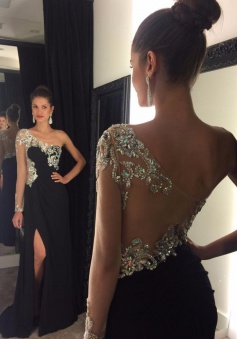 Gorgeous Black Long Prom Dress - Sheer Single Sleeves with Side Slit