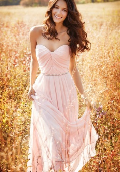 A-Line Sweetheart Floor-Length Pink Chiffon Prom Dress with Beading