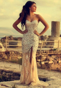 Mermaid Spaghetti Straps Long Champagne Prom Dress with Beading Sequins