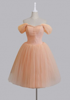 Vintage Style Off-the-shoulder A-line Short Pink Homecoming Dress with Lace-Up