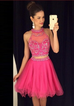 Two Piece A-line Halter Knee-Length Tulle Beaded Pink Prom Homecoming Dress