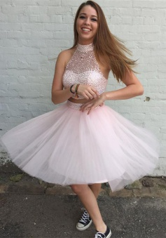 Two Piece A-line High Neck Above-knee Tulle Beaded Pink Prom Homecoming Dress