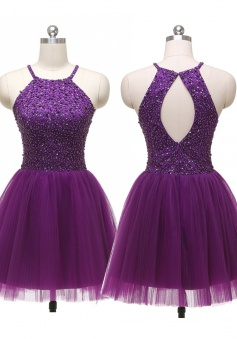 Sexy A-line Halter Short Tulle Backless Purple Prom Homecoming Dress with Rhinestones