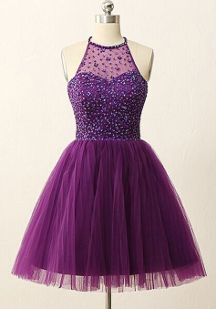 A-line Halter Knee-Length Tulle Backless Purple Prom Homecoming Dress with Rhinestones
