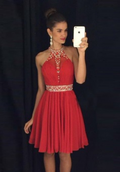 A-line Halter Knee-Length Chiffon Beaded Backless Red Prom Homecoming Dress