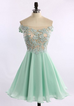 A-line Off-the-shoulder Short Chiffon Beaded Mint Prom Homecoming Dress with Appliques
