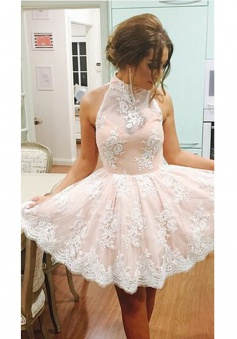 A-Line High Neck Knee-Length Pink Tulle Homecoming Prom Dress with Appliques