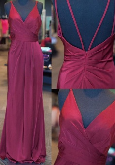 Elegant V-neck Sleeveless Floor-Length Ruched Lilac Prom Dress Open Back