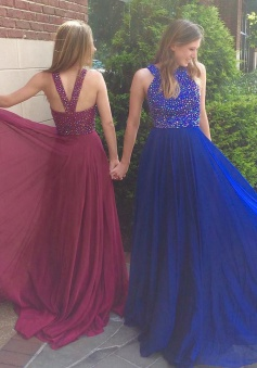 Elegant Jewel Sweep Train Royal Blue Prom Dress with Beading