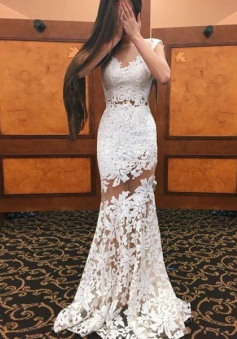 Sheath Bateau Cap Sleeves Sweep Train White Lace Prom Dress with Appliques