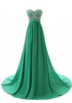 Elegant Sweetheart Sweep Train Hunter Green Prom Dress with Beading
