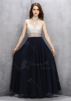 A-Line Jewel Key Hole Black Prom Dress with Sequins Open Back