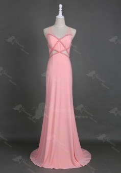 Delicate V-neck Floor-Length Pearl Pink Homecoming Prom Dress with Beading