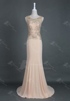 Elegant Sweep Train Pink Sheath Homecoming Prom Dress with Appliques Beading