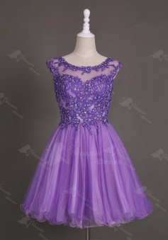 Nectarean Bateau Neck Short Purple Homecoming Dress with Appliques Beaded Open Back