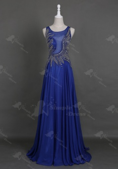 Honorable Scoop Sleeveless Floor-Length Royal Blue Homecoming Prom Dress with Beading Pearls