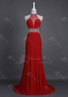 Stunning High Neck Sweep Train Open Back Red Homecoming Prom Dress Beading Rhinestones