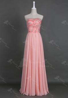 Fabulous Strapless Floor-Length Pink Homecoming Prom Dress Beading Crystal