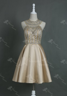 Brilliant Jewel Sleeveless Knee-Length Champagne Homecoming Dress with Rhinestones Open Back