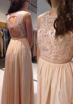 A-Line Bateau Keyhole Back Pink Prom Dress with Beading