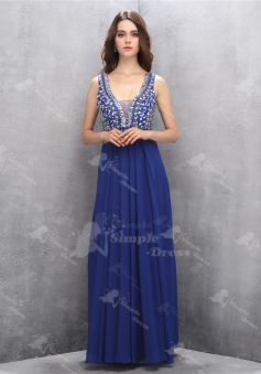 Elegant V-neck Floor-Length Navy Blue Homecoming Prom Dress with Beading