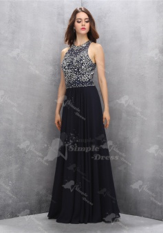 Delicate Jewel Sleeveless Long Black Homecoming Dress with Beading Key Hole Back